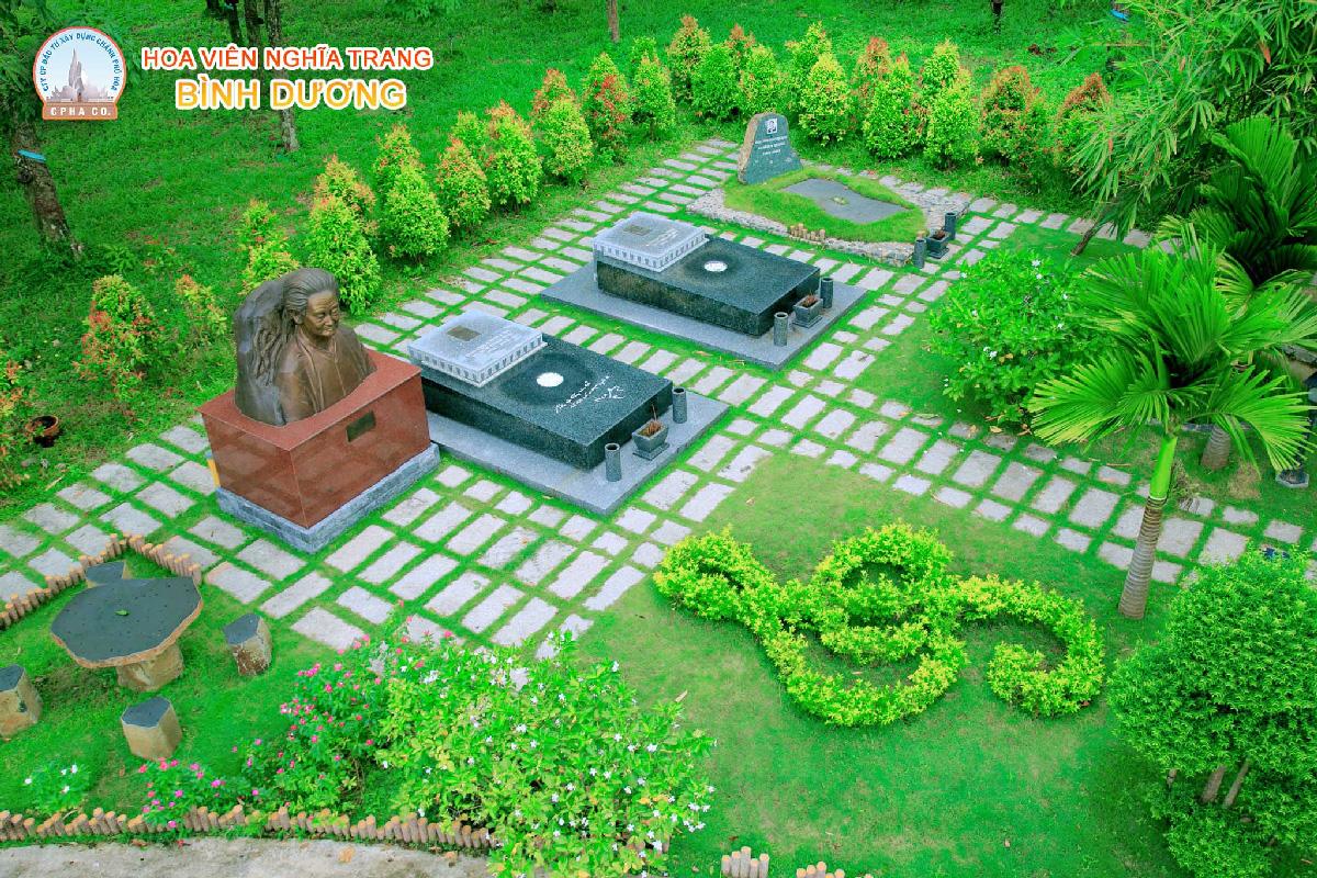 Khuôn viên khu mộ nghệ sĩ hoa viên nghĩa trang Bình Dương